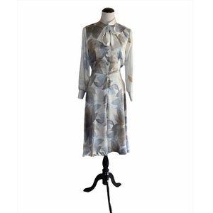Vintage 70s Floral Lanvin Secretary Dress Long Sleeve A-Line Pussy Bow Size 10